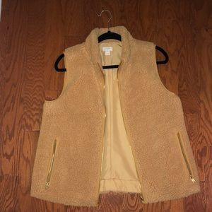 J Crew Mercantile Women's Fleece Vest Sherpa Zip